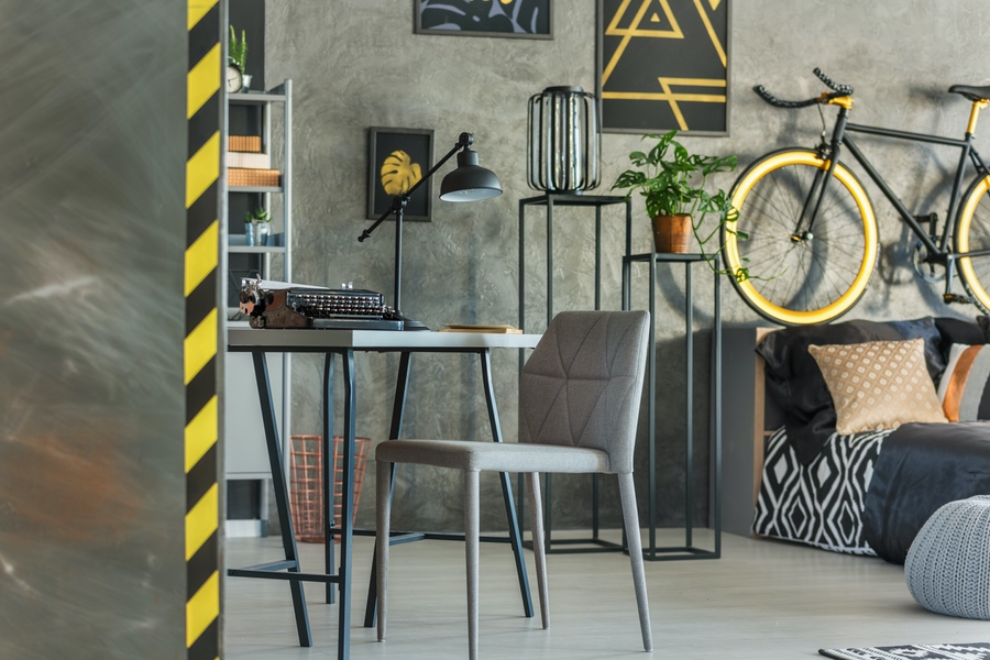 Apartment with desk and bicycle